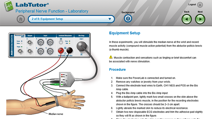 A LabTutor page from the Peripheral Nerve Function experiment