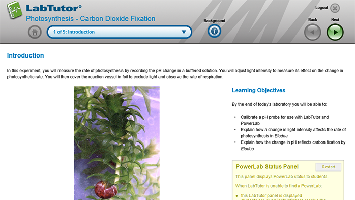 A LabTutor page introducing the key concepts of photosynthetic analysis and carbon-dioxide fixation
